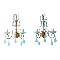 French Aqua Blue Opaline Drops Bobeches  & Beads Sconces C 1920