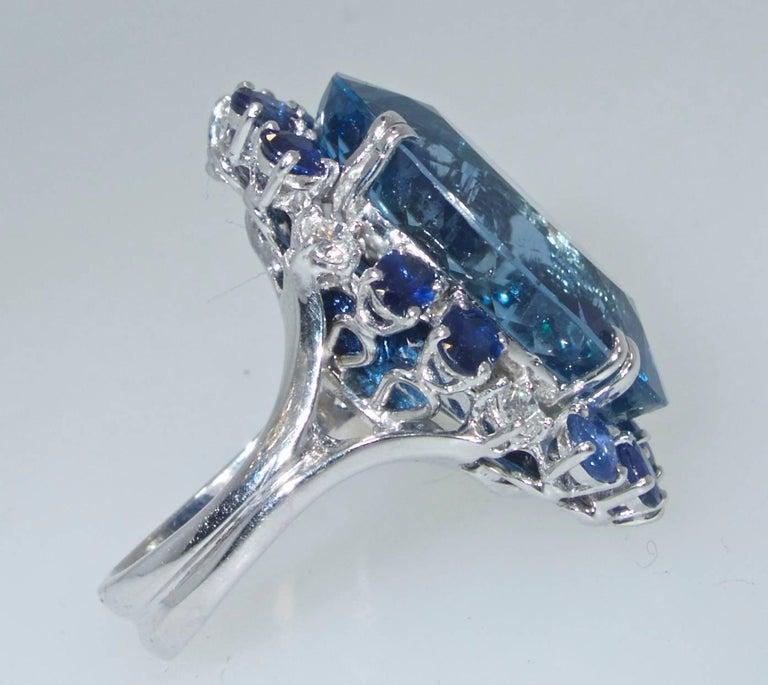 Contemporary Aquamarine, Diamond and Sapphire Ring, French, 1960s For Sale