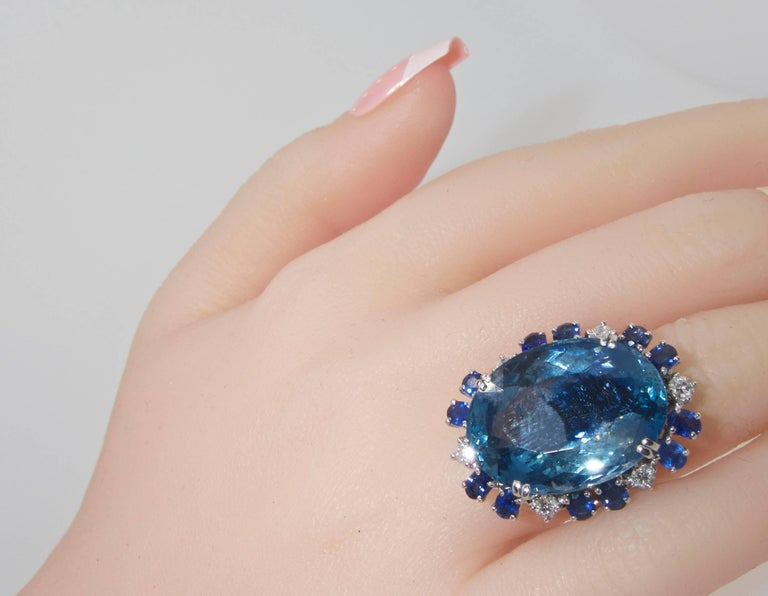 Aquamarine, Diamond and Sapphire Ring, French, 1960s In Excellent Condition For Sale In Aspen, CO