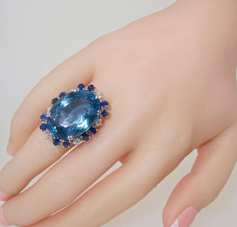 Women's or Men's Aquamarine, Diamond and Sapphire Ring, French, 1960s For Sale