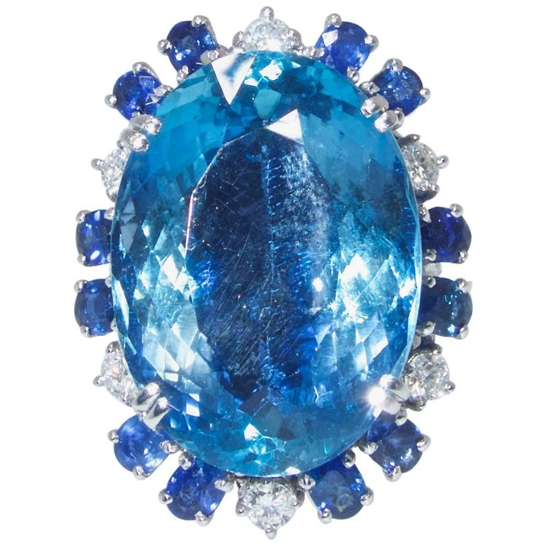 Aquamarine, Diamond and Sapphire Ring, French, 1960s For Sale