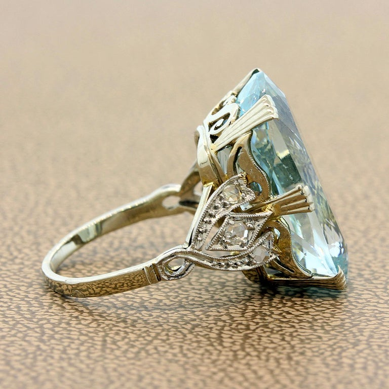 Renaissance Revival French Aquamarine Diamond Gold Cocktail Ring For Sale