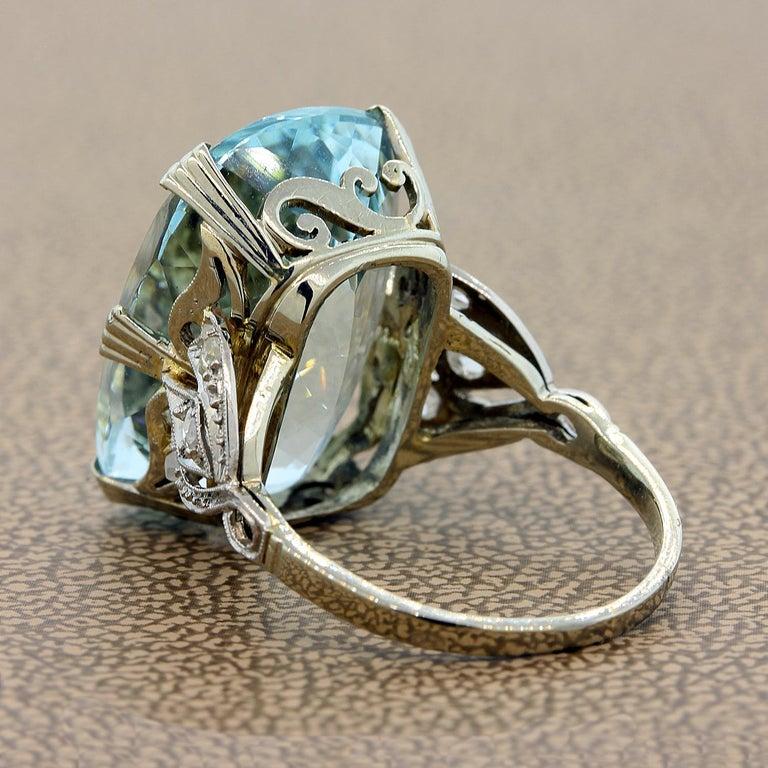 Cushion Cut French Aquamarine Diamond Gold Cocktail Ring For Sale
