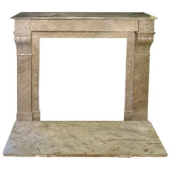 French Architectural Marble Fireplace Mantel