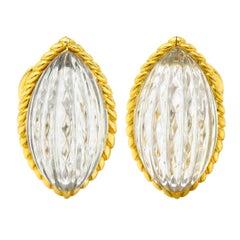 French Arfan Vintage Fluted Rock Crystal Quartz 18 Karat Gold Ear-Clip Earrings