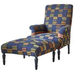 French Armchair and Ottoman in African Ewe Fabric