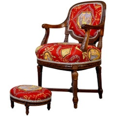 French Armchair and Stool in Fortuny Fabric