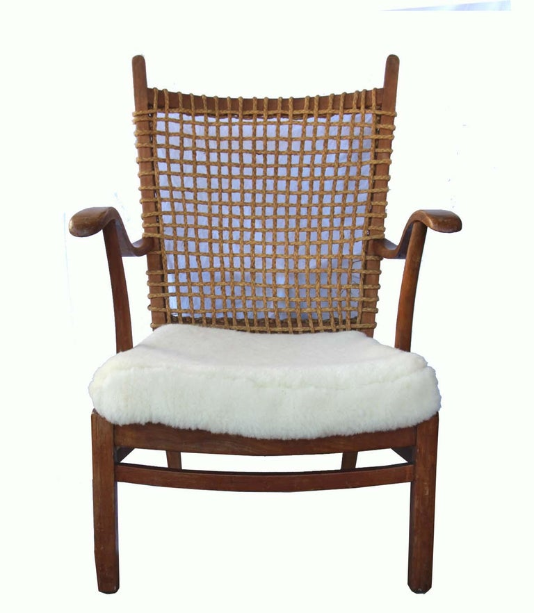 French Armchair Rope Back, Lambskin Seat In Good Condition For Sale In Sag Harbor, NY