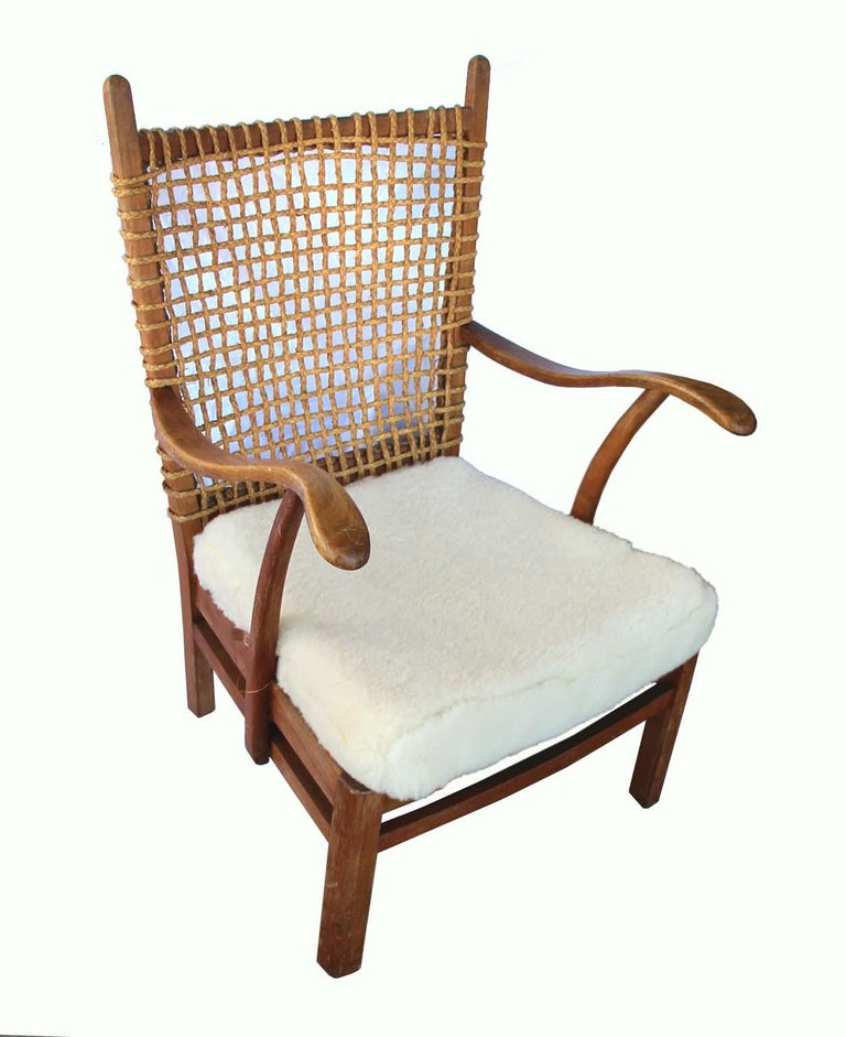 20th Century French Armchair Rope Back, Lambskin Seat For Sale