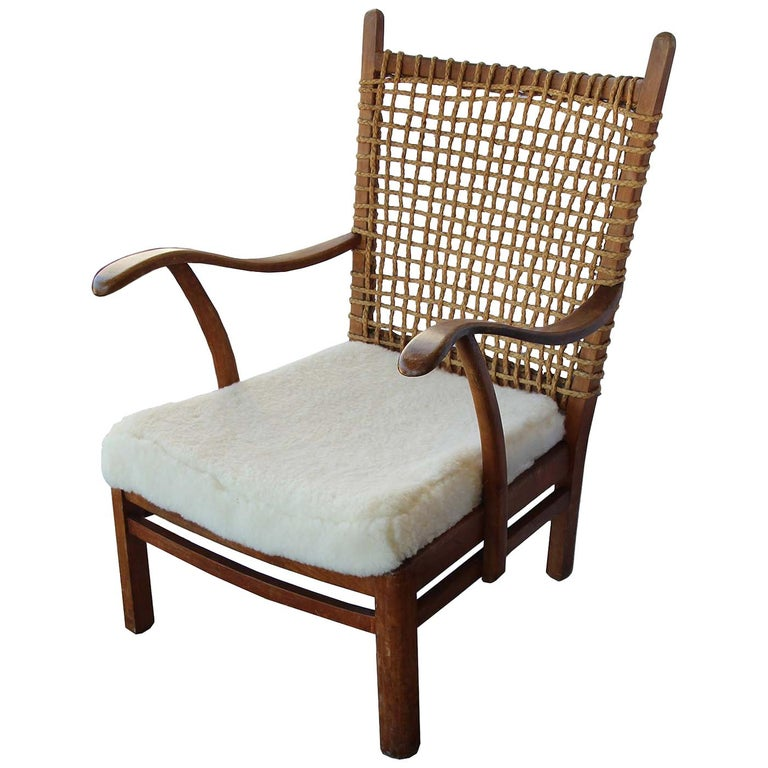 French Armchair Rope Back, Lambskin Seat For Sale