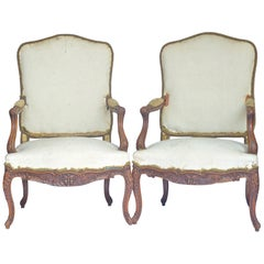 French Armchairs Bergere Fauteuil Rococo Carved Upholstered 19th Century Brown
