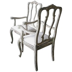 French Armchairs, Chairs, 19th Century, Oak, Decorative Painted Chairs, French