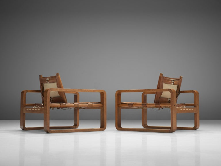Scandinavian Modern French Armchairs with Cognac Leather For Sale