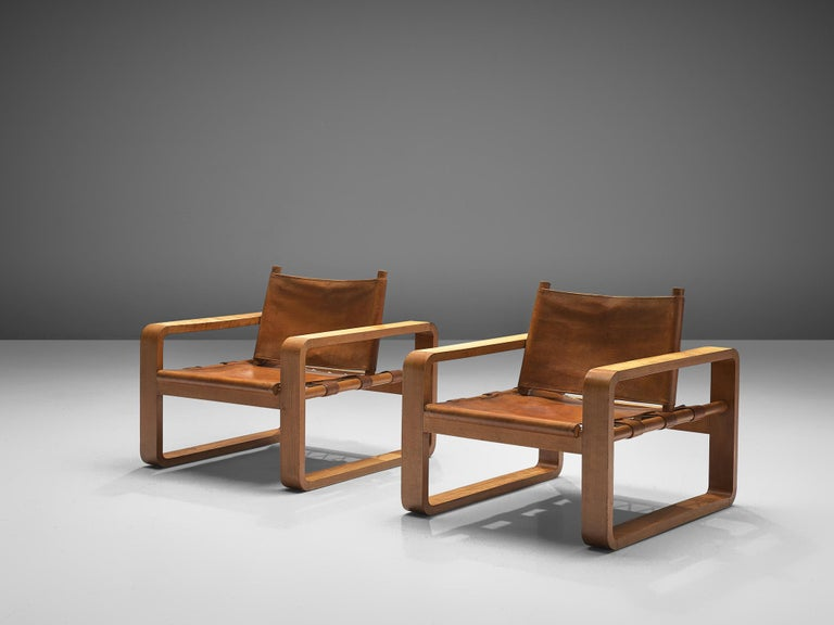 Scandinavian French Armchairs with Cognac Leather For Sale