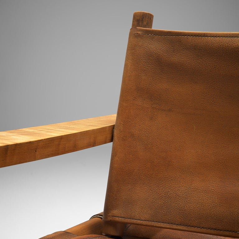 Mid-20th Century French Armchairs with Cognac Leather For Sale