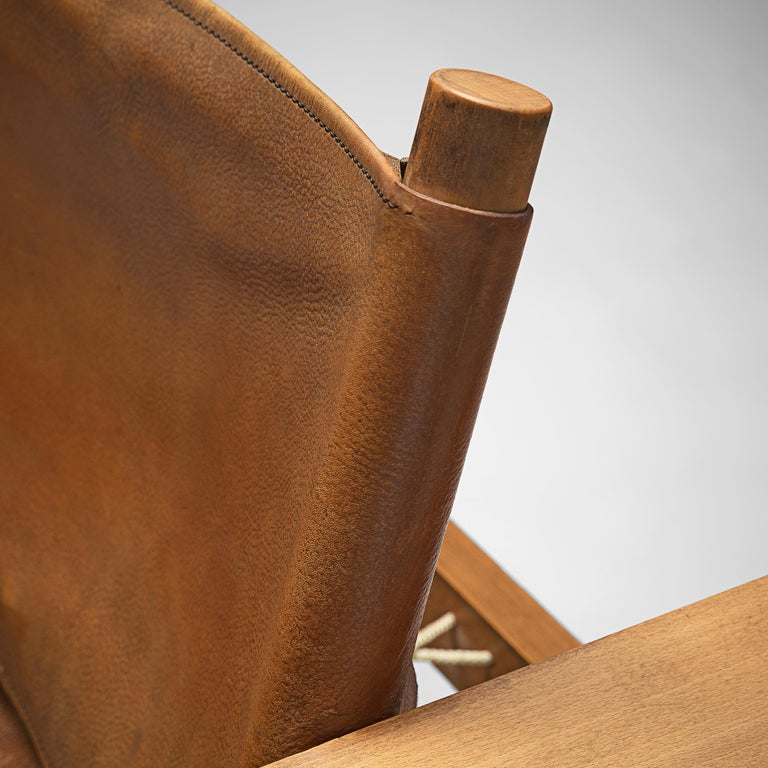 French Armchairs with Cognac Leather For Sale 1