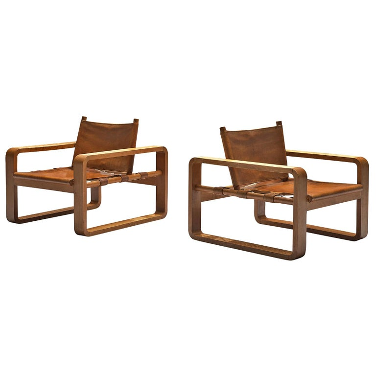 French Armchairs with Cognac Leather For Sale