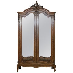 French Armoire Late 19th Century Louis Mirror Door Wardrobe