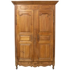 French Armoire Louis XVI Cherrywood Wardrobe Star and Basque Details 18th C