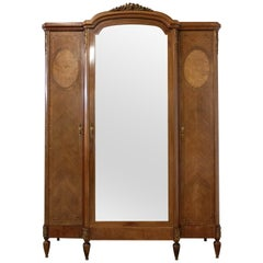 French Armoire Louis XVI Mahogany Elm Burl Mirror Door Wardrobe, 1900