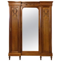 French Armoire Louis XVI Mirror Door Mahogany Wardrobe, 1900