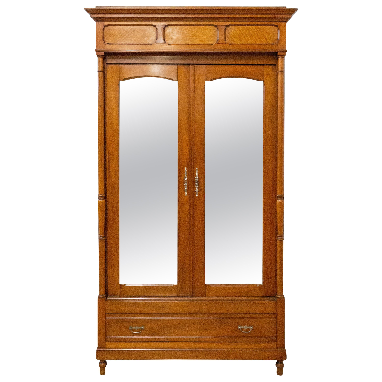 French Armoire Mirror Doors Cherrywood Wardrobe, 1920