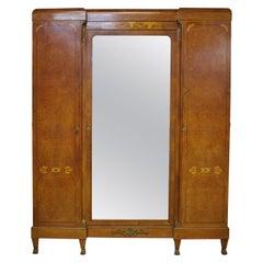 French Armoire Second Empire Inlaid Eagles Ormolu Mirror Door Wardrobe