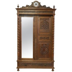 French Armoire Wardrobe 19th century Gothic revival Mirror Door