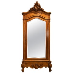 French Armoire Wardrobe with Concealed Three-Way Mirror