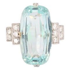 French Art Deco 12 Carats Oval Aquamarine Diamonds Platinum Ring