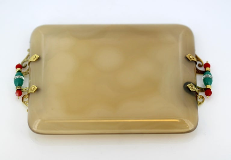 French Art Deco 18-Karat Gold and Agate Pin Tray,