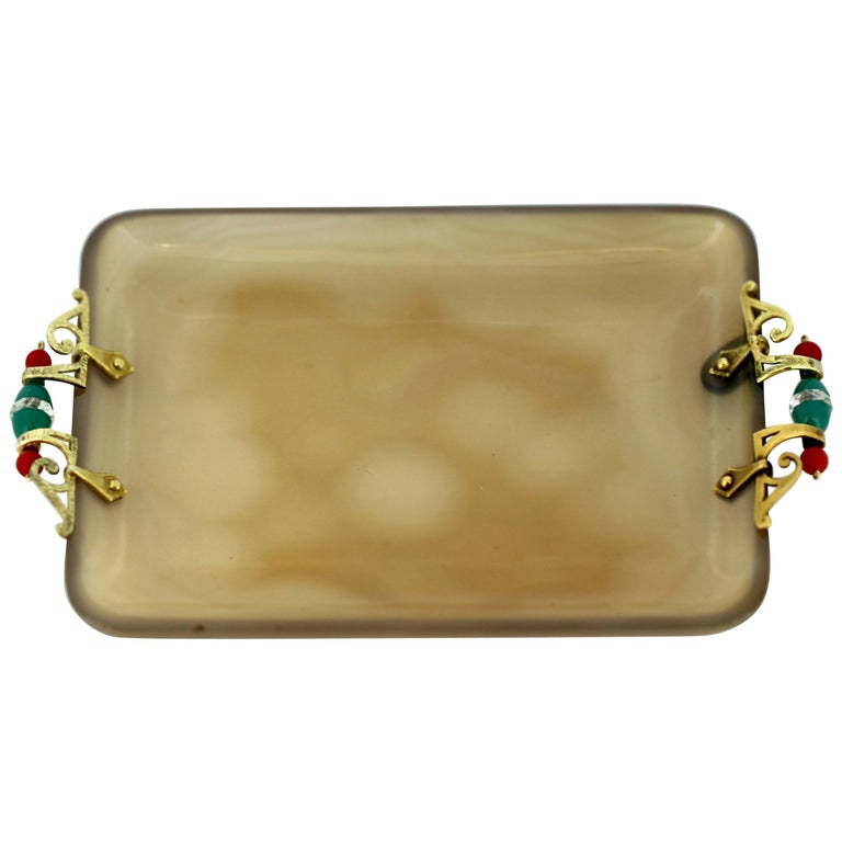 """French Art Deco 18-Karat Gold and Agate Pin Tray, """"Cartier or Fouquet Style"""" For Sale"""