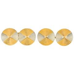 French Art Deco 18 Karat Two-Tone Gold Men's Cufflinks
