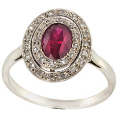French Art Deco 18 Karat White Gold Ladies Ring with Diamonds and Rubies, 1920s