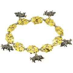 French Art Deco 18K Gold Bracelet Chinese Year of Pig Zodiac, Diamonds & Rubies