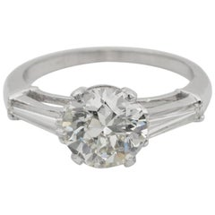 French Art Deco 1.90 Carat Diamond Solitaire Plus Platinum Engagement Ring