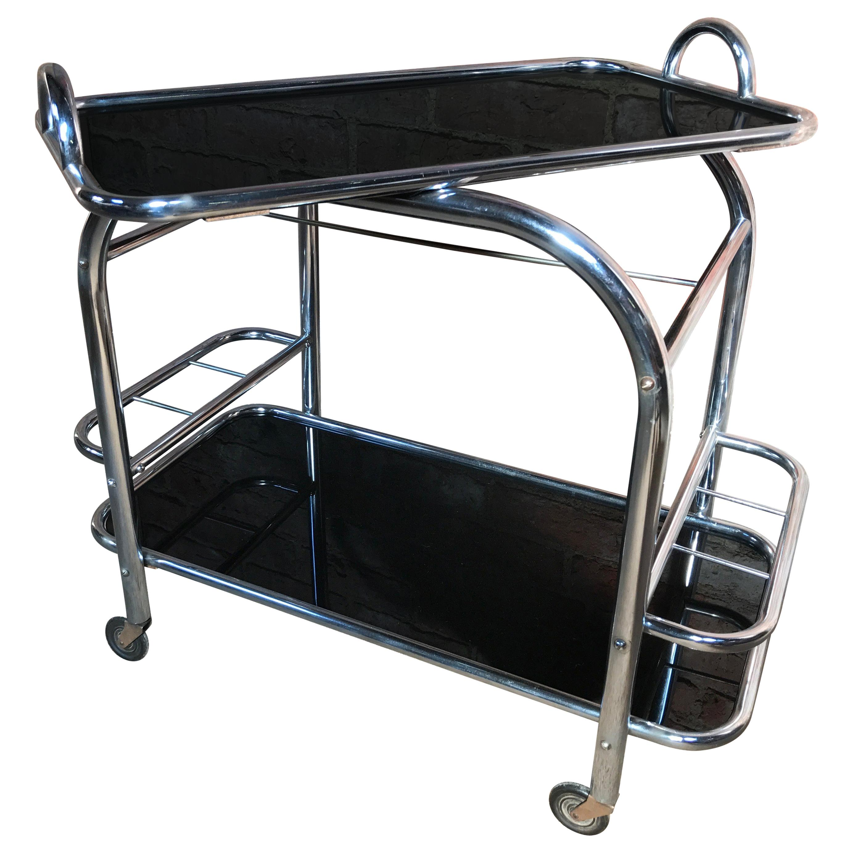 French Art Deco 1930 Drink Trolley Designed by Jacques Adnet