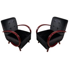 French Art Deco 1930s Black Velvet and Dark Red lacquered Armrests Armchairs