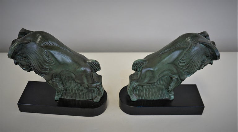 Painted French Art Deco 1930s Buffalo Bookends by Max Le Verrier For Sale
