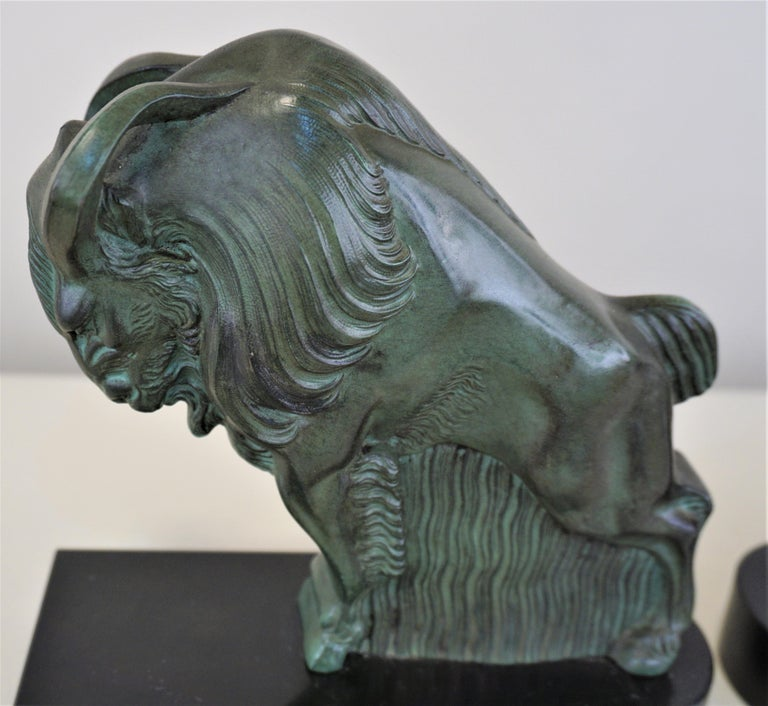 French Art Deco 1930s Buffalo Bookends by Max Le Verrier In Good Condition For Sale In Fairfax, VA