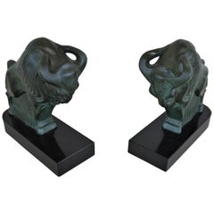 French Art Deco 1930s Buffalo Bookends by Max Le Verrier