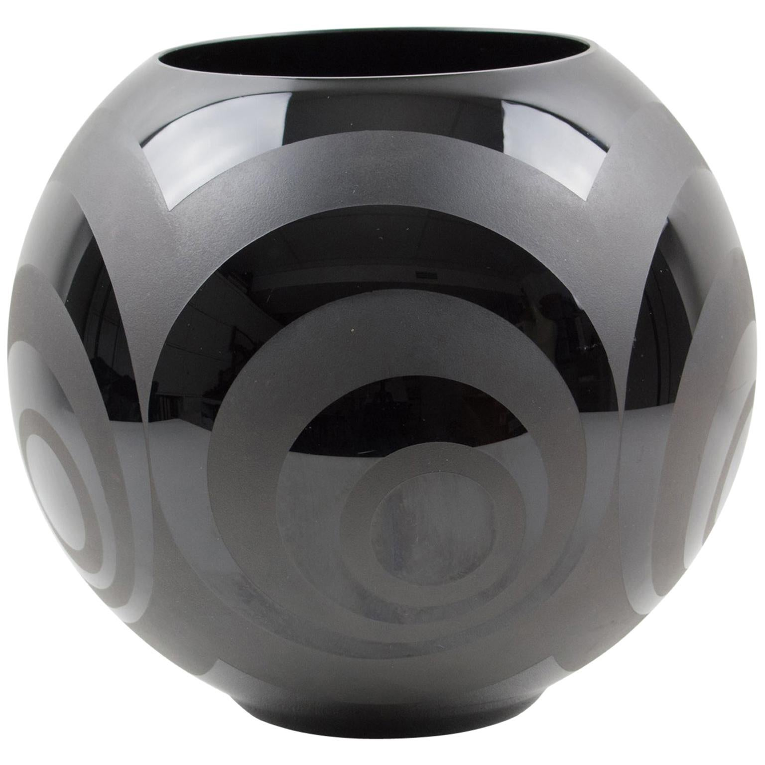 French Art Deco 1930s Frosted Black Glass Vase by VerMer