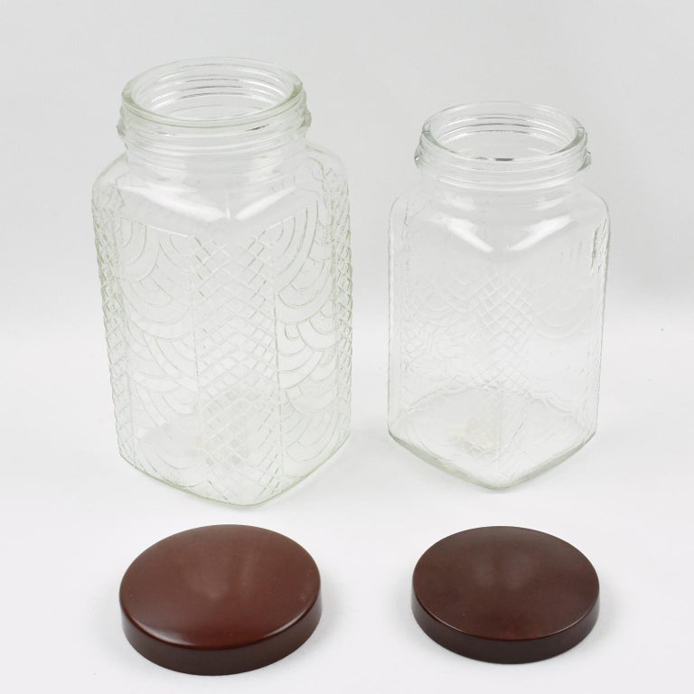 Mid-20th Century Art Deco 1930s Kitchen Canister Jar Molded Glass and Bakelite For Sale