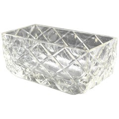French Art Deco 1930s Large Crystal Centerpiece Bowl Vase Planter