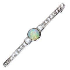 French Art Deco 1930s Opal Diamonds Platinum Brooch