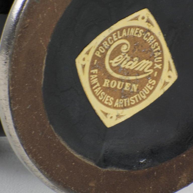 French Art Deco 1930s Silver Overlay Black Ceramic Vase by Ceram For Sale 2