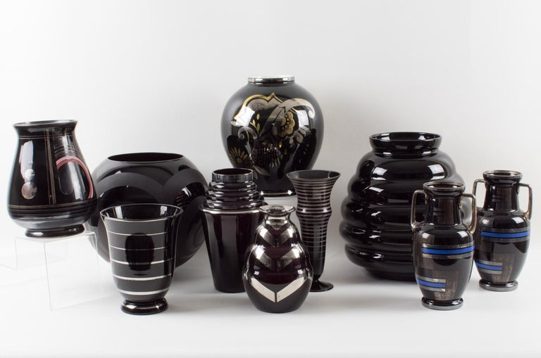 French Art Deco 1930s Silver Overlay Black Ceramic Vase by Ceram For Sale 3