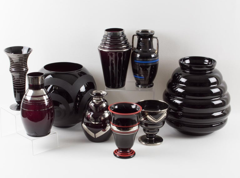 French Art Deco 1930s Silver Overlay Black Ceramic Vase by Ceram For Sale 4