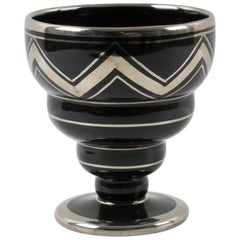 French Art Deco 1930s Silver Overlay Black Ceramic Vase by Ceram