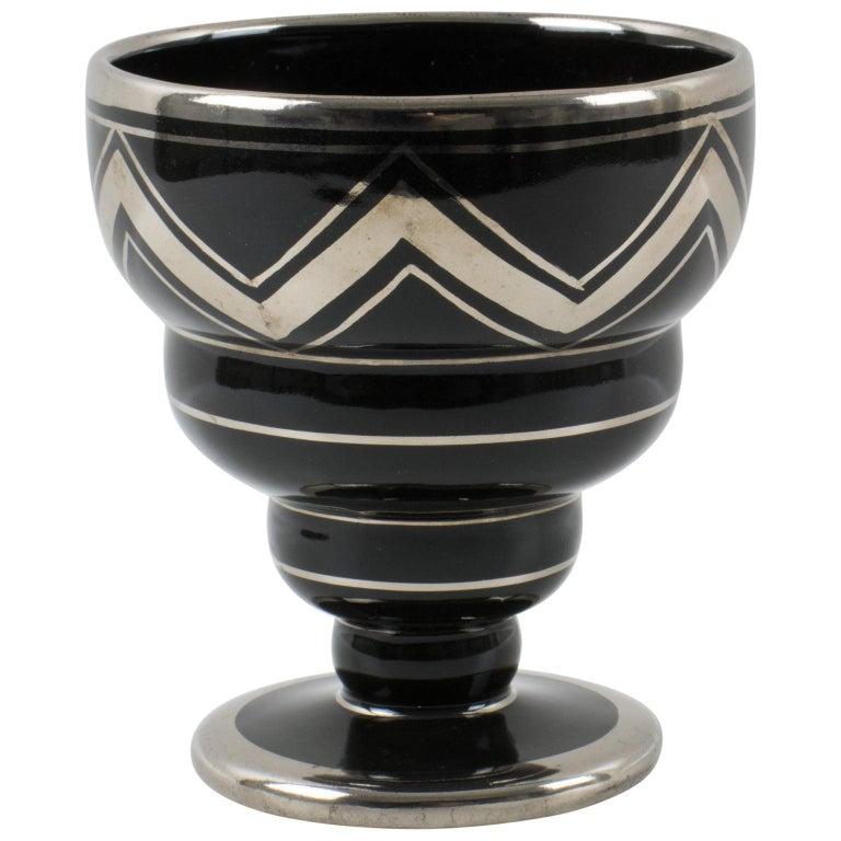 French Art Deco 1930s Silver Overlay Black Ceramic Vase by Ceram For Sale